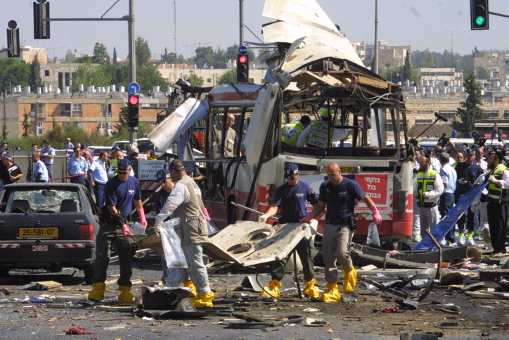 suicide bombing killing 19 and injuring 74 on a bus in Jerusalem